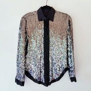 Vintage sequin beaded tuxedo button up shirt